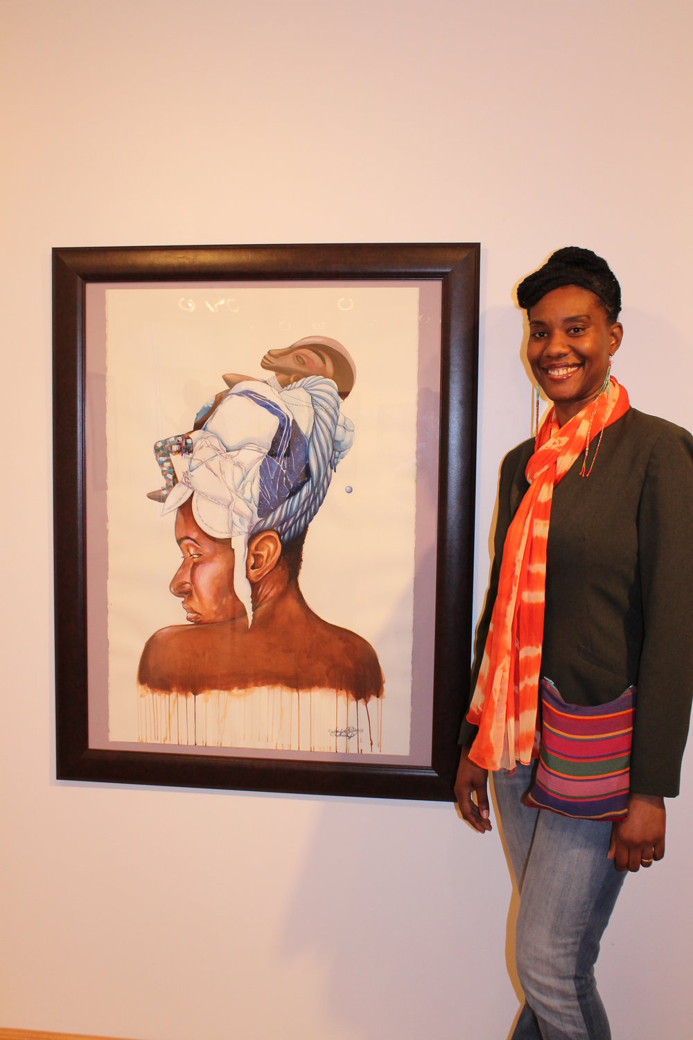 IYABO SHABAZZ With Her Art at the ONYXCON 5 Art Exhibition Opening.