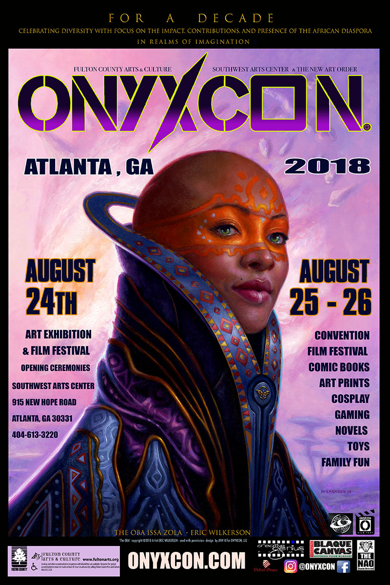 Eric Wilkerson's Art - THE OBA graces ONYXCON's official 2018 flier!
