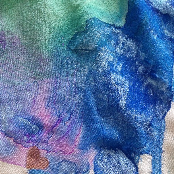 Playing with water colors again…have an idea to incorporate this #bespoke idea into a #bridal look. Can you spot our signature heart? #watercolor #fashion #sari #saree #indianfashion #lambsbloodapparel