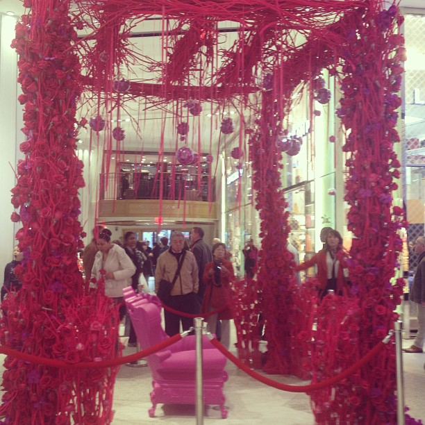 #Macy's #Flower Show: red & purple pergola. Close up coming in next shot. It is #beautiful and the perfect mandap for our purple and red Tetris inspired bridal #sari