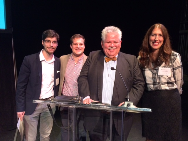 A few of R3A's team members accepting their award with WQED's Rick Sebak at the AIA Award Ceremony and Gala - Oct 22