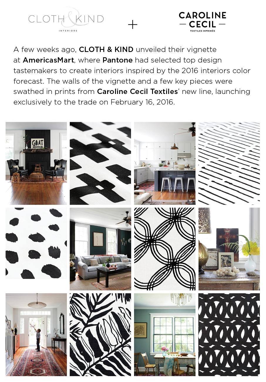 CLOTH & KIND // Pantone Vignette Featuring Caroline Cecil Textiles