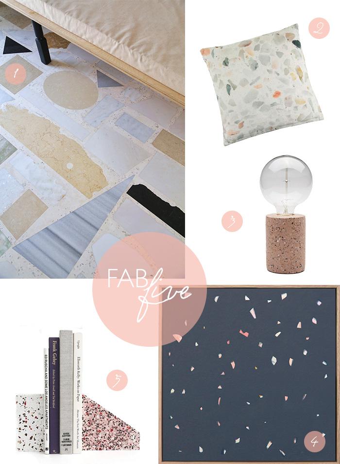 CLOTH & KIND Interiors // Fab Five Terrazzo