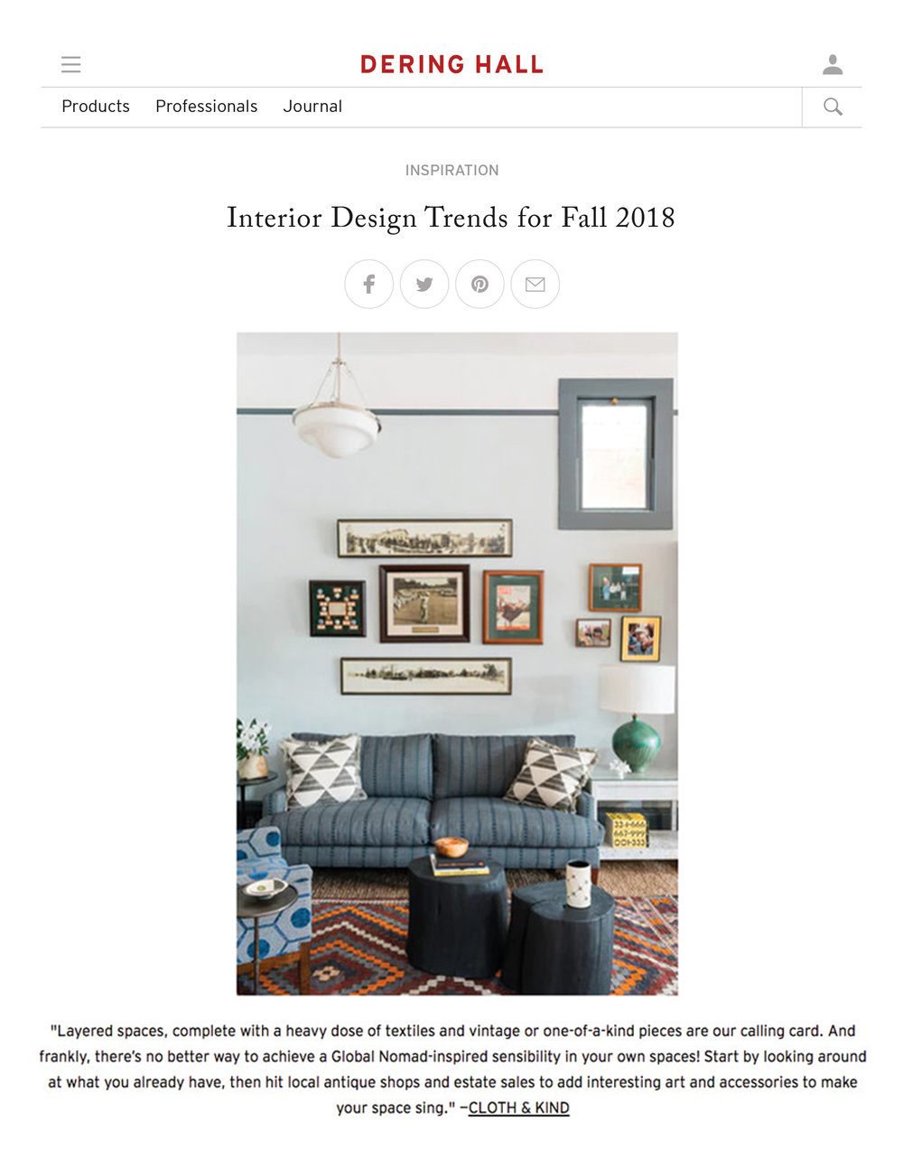 Dering Hall Interior Design Trends For Fall 2018 Global Nomad Cloth Kind