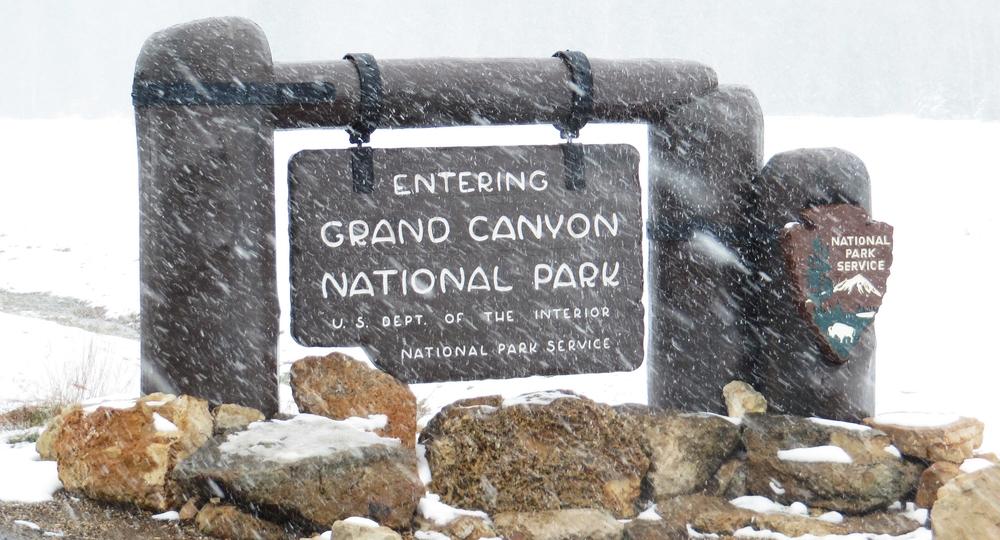Snow at the North Rim entrance.