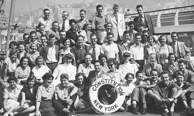 Austrian Fulbrighters embark for the United States in the 1950s