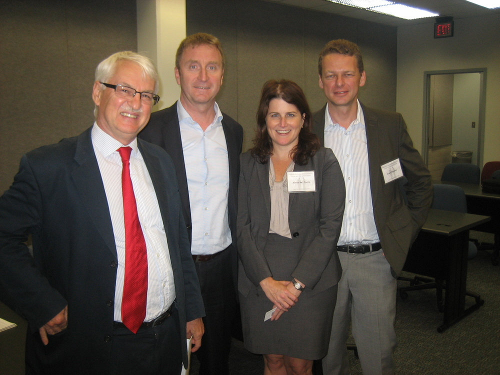 from left: Guenther Bischof, Director, CenterAustria at UNO; Jodok Schaeffer of Alpla (Atlanta, GA); Aimee Quirck, Office of Economic Development, City of New Orleans; Franz Roessler, Austrian Trade Commissioner in Chicago
