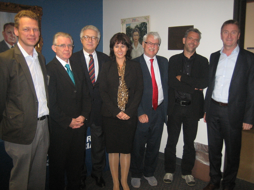 from left: Franz Roessler; Ronald Hall, European Commission; Ambassador Wolfgang Petritsch; Elisabeth Springer, University of Applied Sciences BFI Vienna; Guenther Bischof; Martin Hendel, University of Vienna; Jodok Schaeffer
