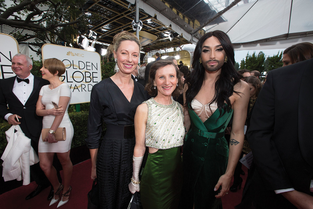 Ulrike Ritzinger with Conchita Wurst (right) and barbara gasser at the 2015 Golden Globe Awards Photo: Ulrike Ritzinger