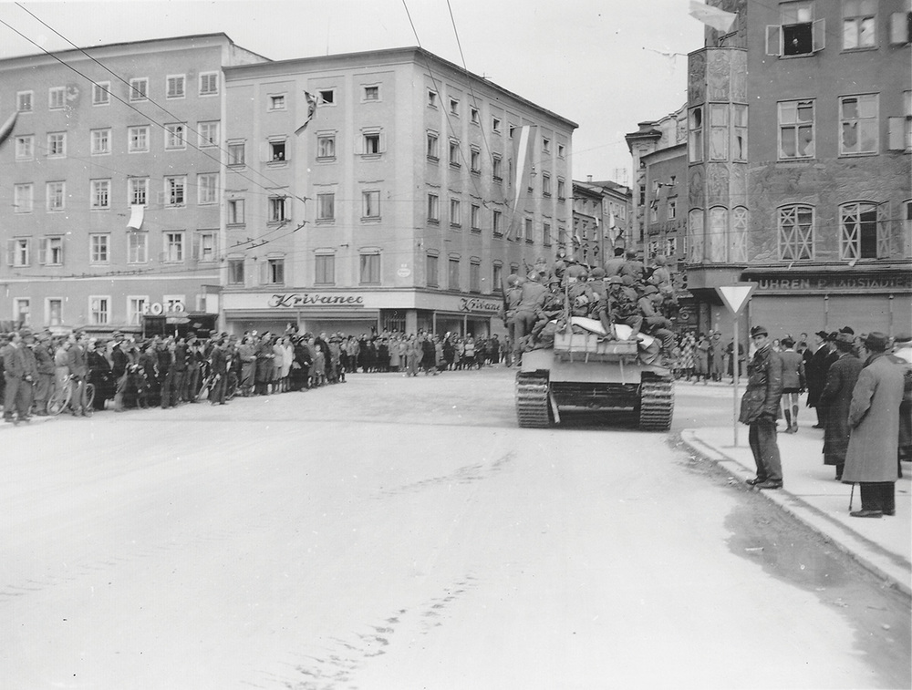 The People of Salzburg greet the first U.S. Troops in the City.  Photo: U.S. Army Signal Corps