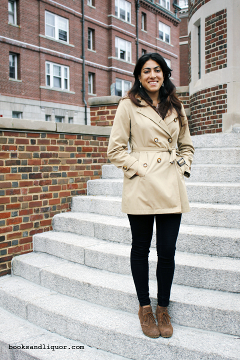 Ava's Best Dressed friend, Anjali, wearing a tan cropped trench with black pants and brown suede heels.