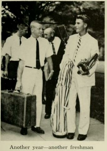 Duke University Vintage 1960 60s photo showing freshmen dressed up for orientation move-in
