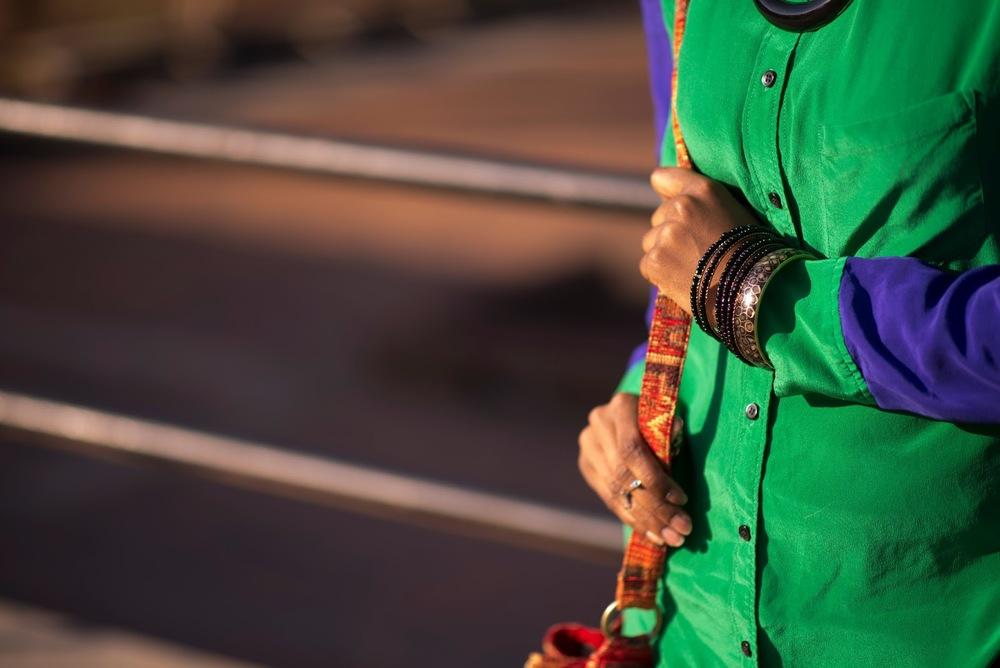 green body cuffs shirt blue contrast button collar