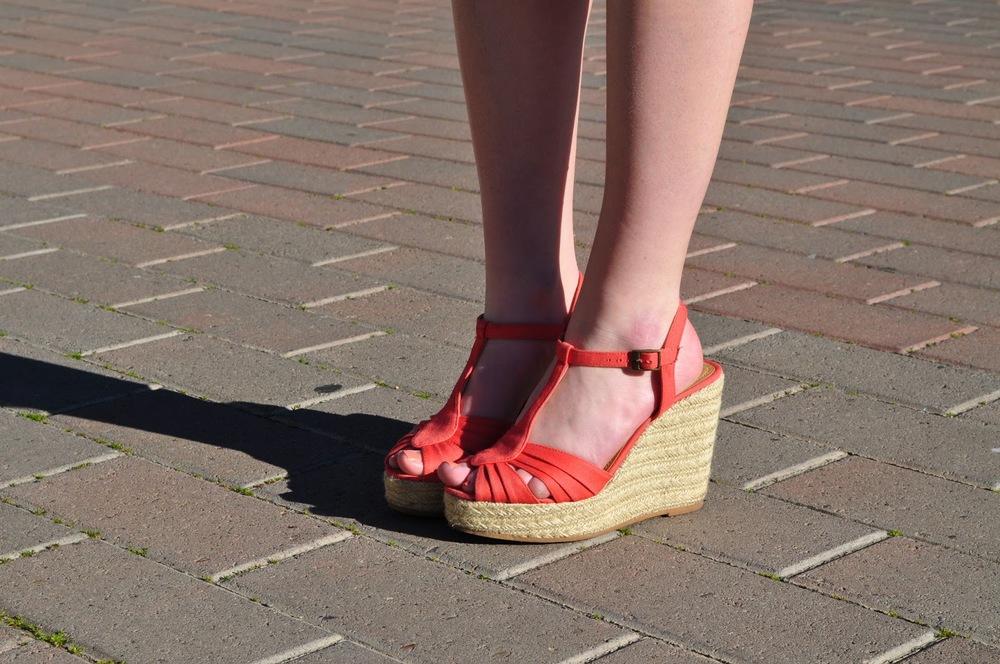 coral heel wedges heels college santa clara university campus