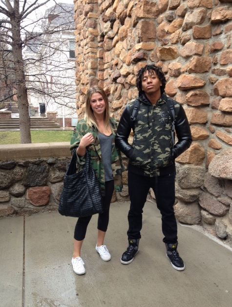 University of Colorado at Boulder students Chloe Mugg and Shay Knolle represent the camo trend reaching college campuses and they both wear it in style. jacket blazer high top college