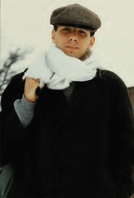 Duke University student wears a tweed hat and a white scarf on a cold  North Carolina day. 1983 - Vintage