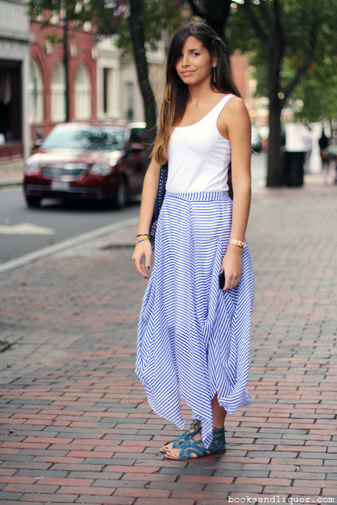 Spotted on Holyoke Street, a freshman from Puerto Rico living in the Yard. A beautiful day in Harvard Square last week, meant that she could wear her blue and white striped sheer skirt one more time before winter settles in.