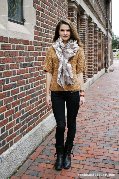 Harvard Student Ava Carter is immortalized by Grace Sun wearing an elephant print white and grey scarf over a rust sweater and black jeans and boot as part of a my best dressed friend - pay it -forward series