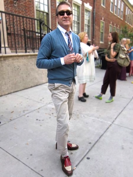 Anthony Miller, SCAD fashion department faculty, wearing an exquisite pair of contrast colored oxfords with a large red kiltie.
