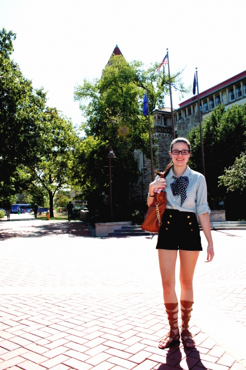 University of Kansas Student wears Gladiator Sandals and a bow tie handkerchief