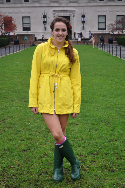 Columbia student Morgan wears a Century 21 Rain Slicker and Green Wellies during a rainy day on campus