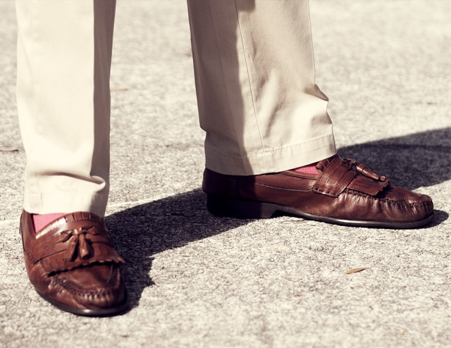 light khaki pants tassel brown loafers kiltie