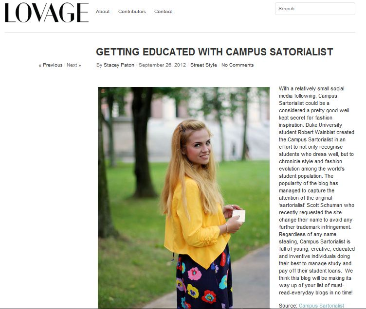 Lovage Magazine    -  Getting Educated with Campus Sartorialist