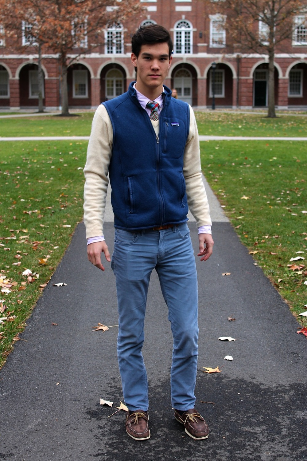 Phillips Exeter Academy - Blue Chinos in a fall layered look