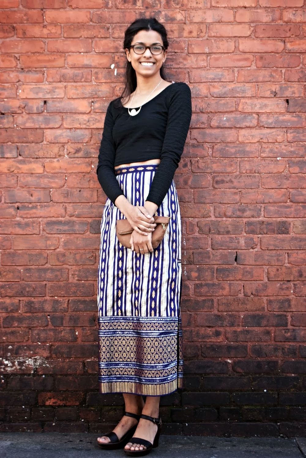 Dana Balch UGA Athens Georgia Indian stripe skirt goodwill  #MacysCampusTour material girl crop top, chunky wedges, stacking rings by Rhys May, Lauren Hill necklace and simple Baggu pouch