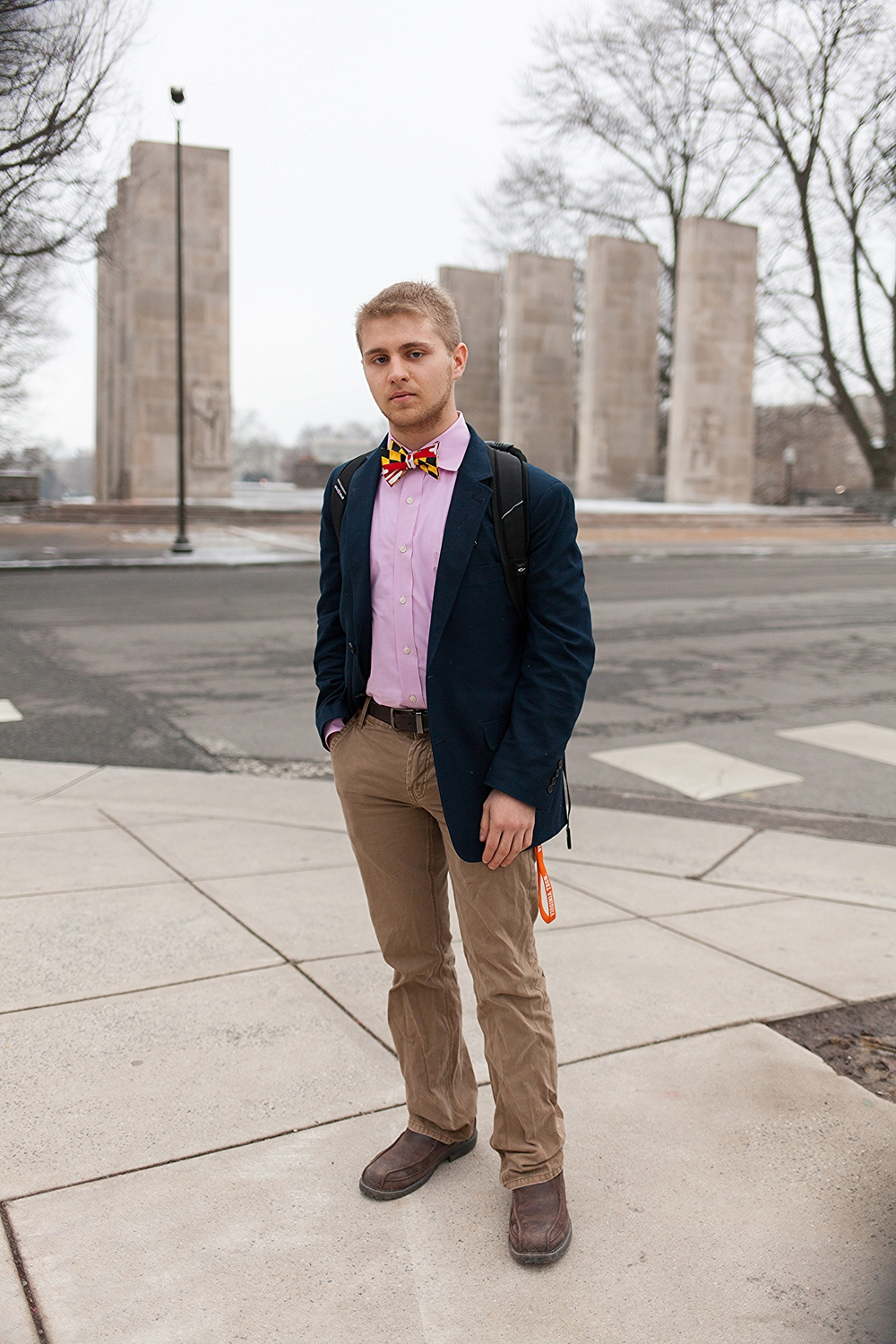 Tyler Lipman | Virginia Tech  Route One Apparel Maryland Flag Bow Tie  Navy Blazer  Salmon Oxford button-down shirt  Brown Docker's slim Chinos for Macy's