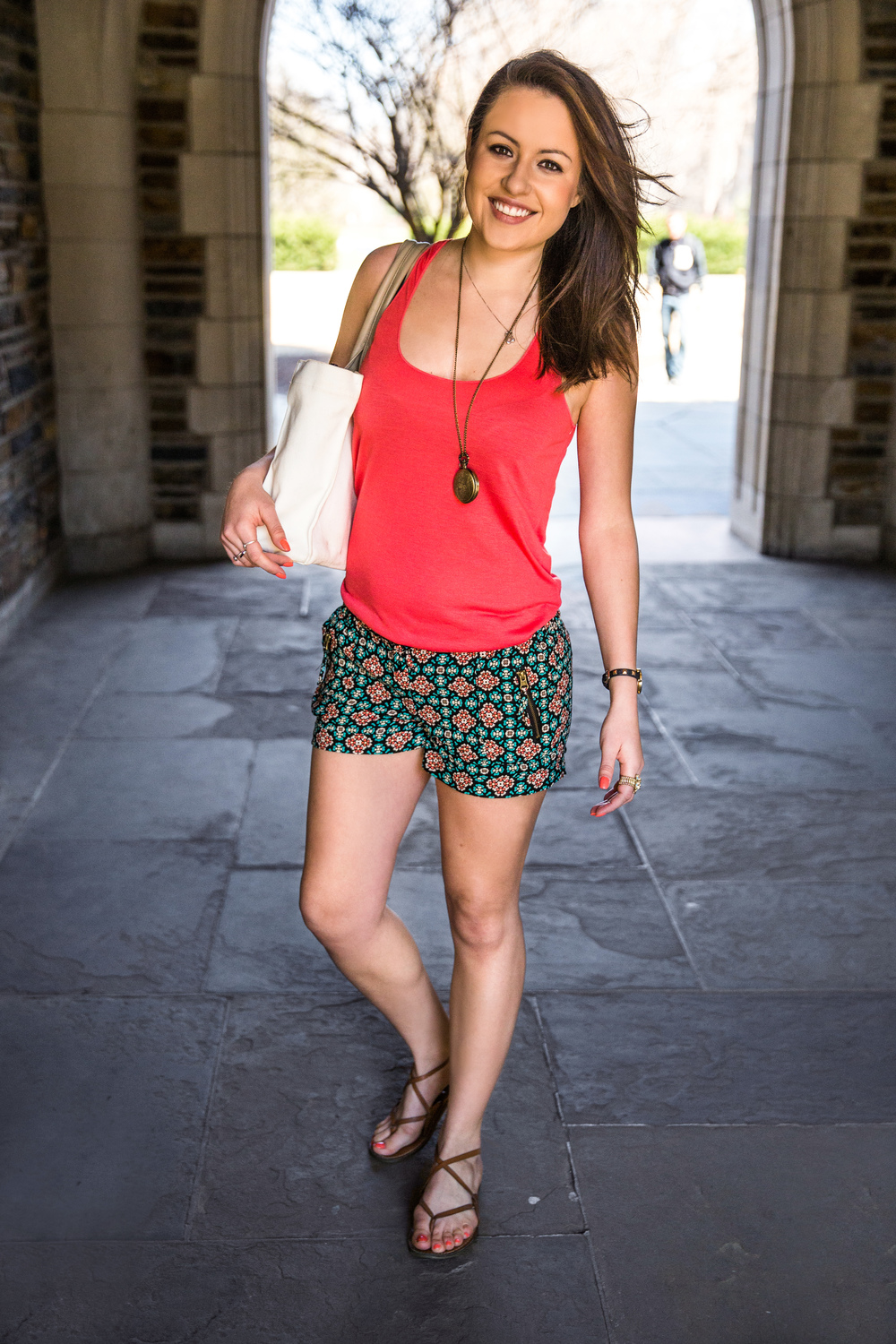 Monica Fox | Duke University  American Rag Printed Shorts  Gold Pocket watch pendant