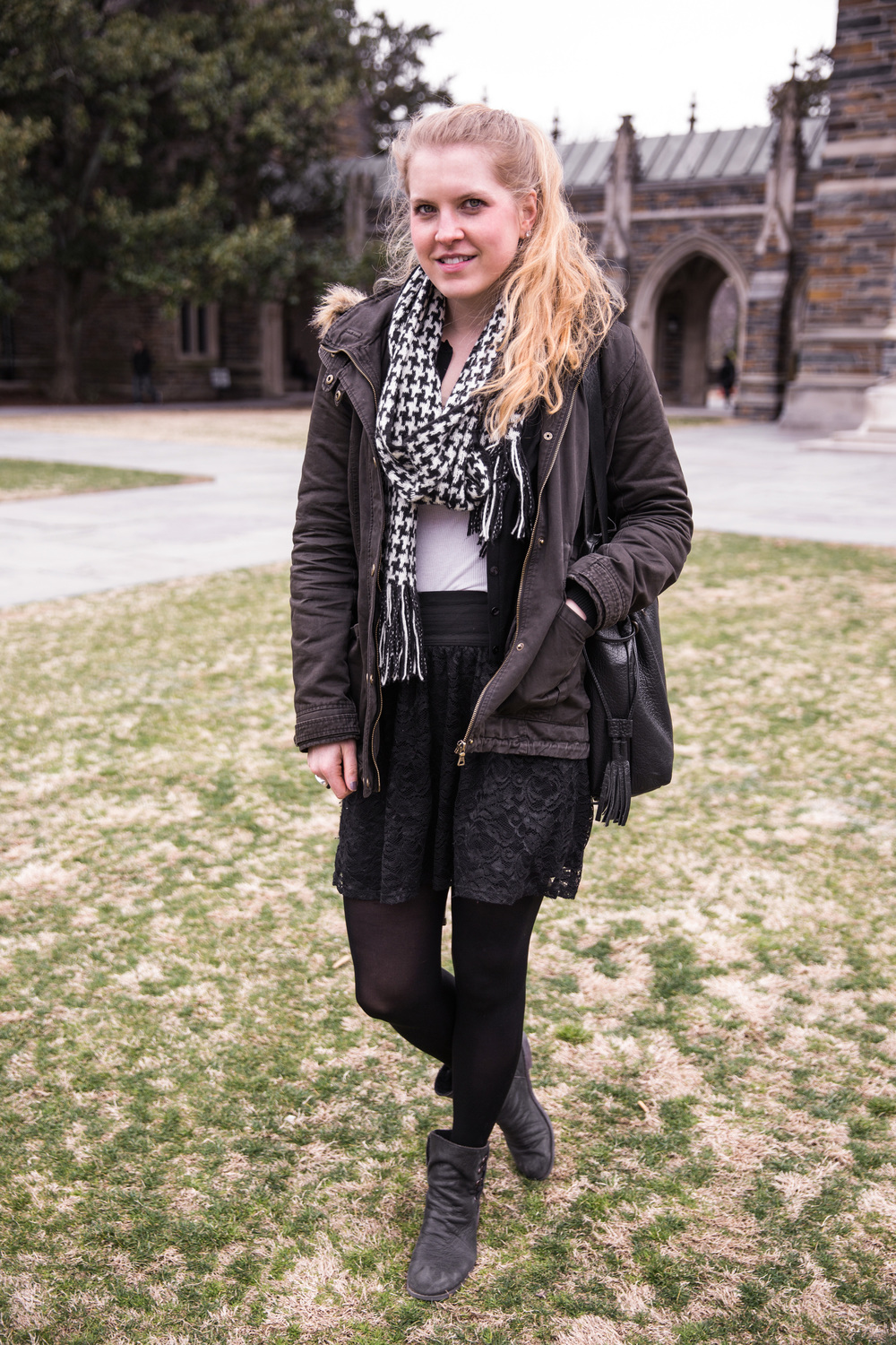 Madeline | Duke University Fur Trimmed Jacket Houndstooth Scarf Black Lace Skirt and Leggings Black Boots
