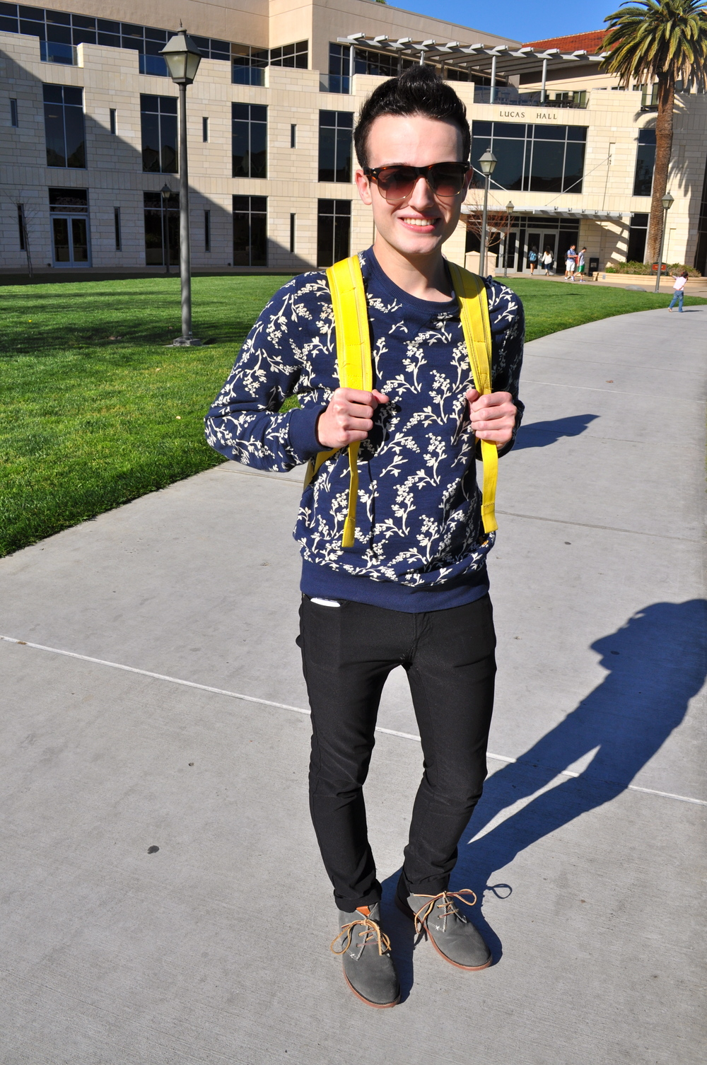 Alex | SCU Floral Print Blue Sweater  Skinny Black Jeans Grey Suede Oxfords Neon Yellow Backpack Rayban Sunglasses