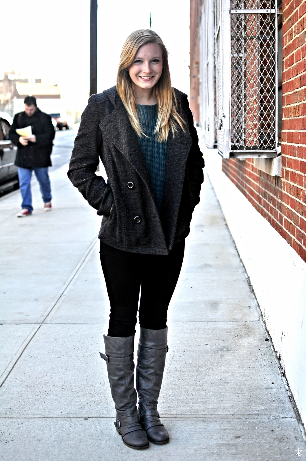 Erin M. | Fordham University  Tweed Jacket  Blue Crewneck Sweater  Black Tights  Brown Boots