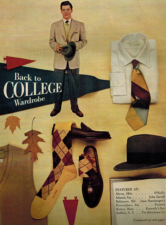 Back to Campus | Men's Clothing  Blazer and Suit Coats  Argyle Socks  Fedora  White Oxford Button-Down Shirt  Repp Tie