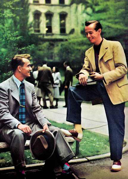 Vintage College Campus  Pompadour and Slick hair styles  Fedora  Suits Gingham Camel and Windowpane  Saddle Shoes  Argyle Socks