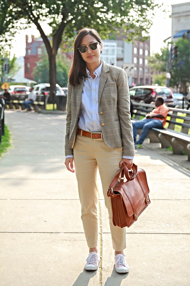 Michelle Sohn | Harvard Law School Photo by Citizens of DC Windowpane Plaid Blazer Baby Blue Oxford Shirt Light Yellow Jeans Converse White Sneakers Brown Document Portfolio Handbag
