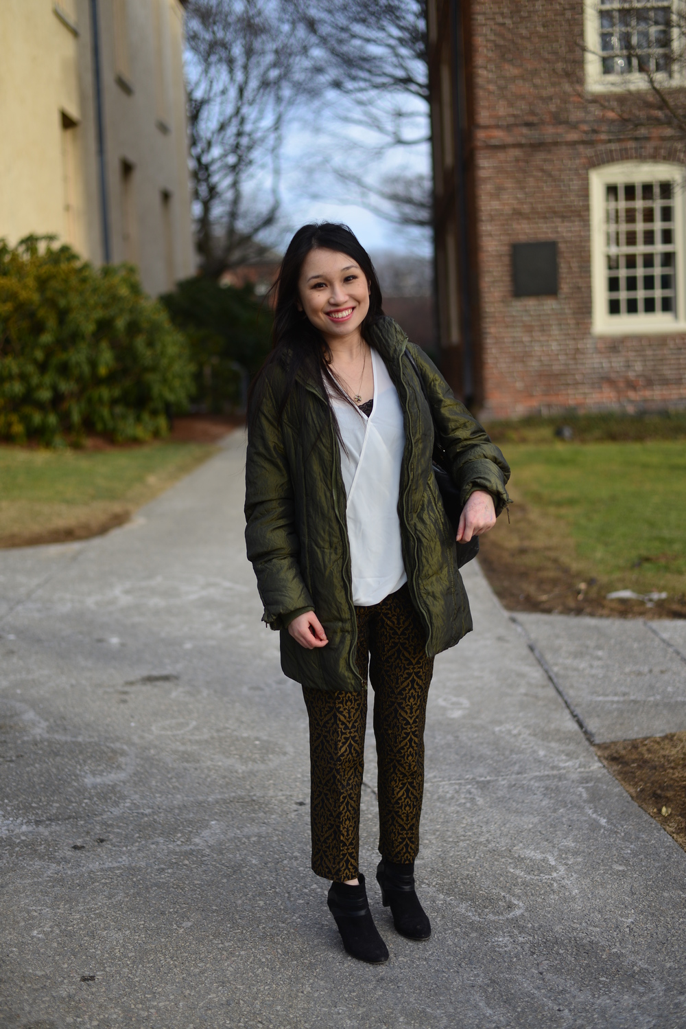 Tina | Brown University Olive Jacket Olive Batik Pattern Trouser Black Suede Booties