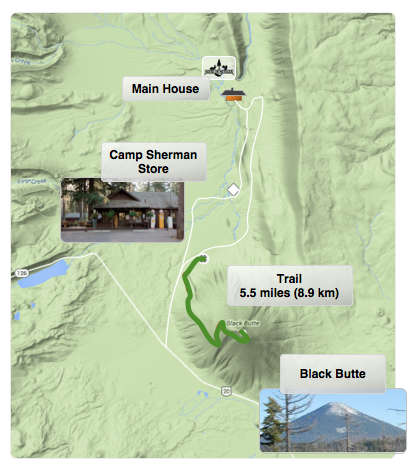 The Black Butte hiking trail is a great way to enjoy the ponderosa forests with a spectacular 360º view of Central Oregon at the summit.  This map shows the longer climb, which starts at the base of the butte.