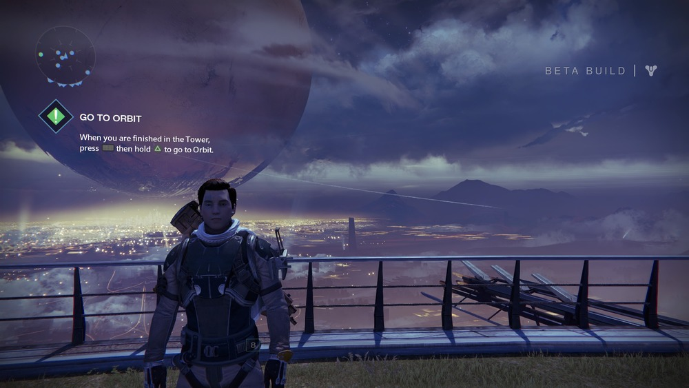 On the Tower, players can see their creations as well as The Visitor (seen in the background)