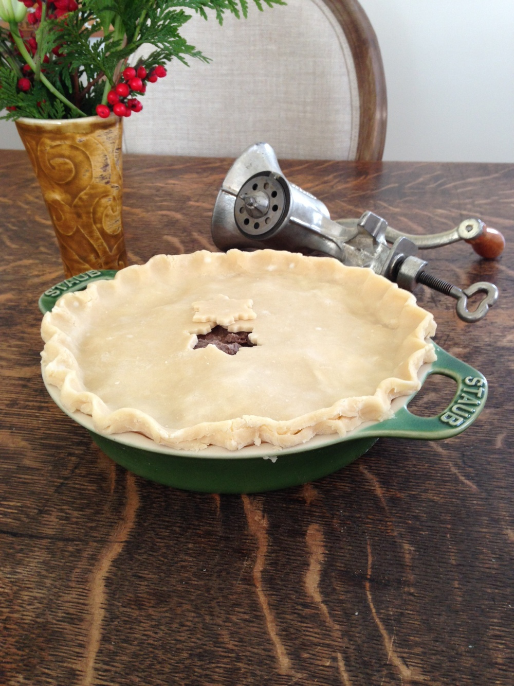 Tourtière, pre-baked and the antique meat grinder.