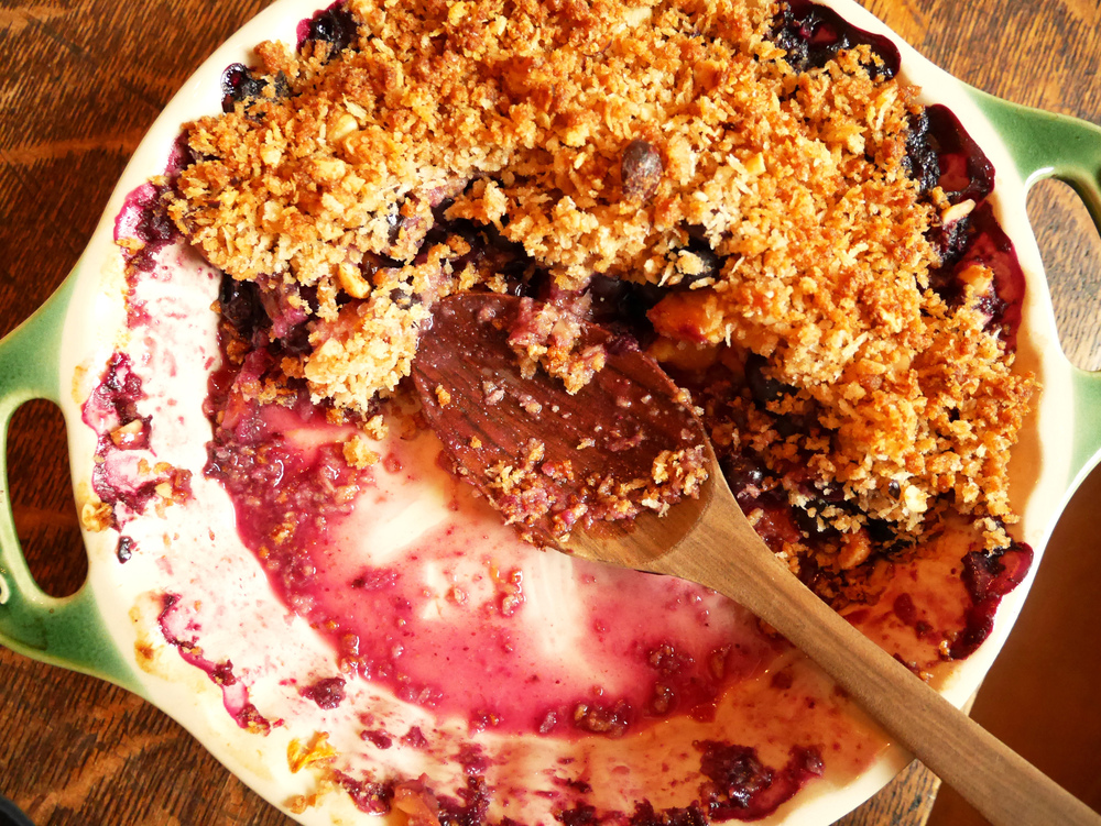 Summer Okanagan blueberry & peach crisp