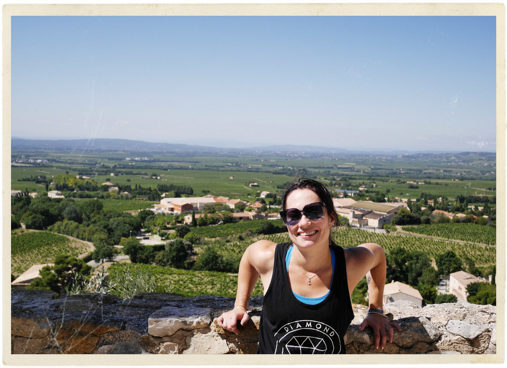 Natalie in Gigondas with that perfect blue Provence sky...