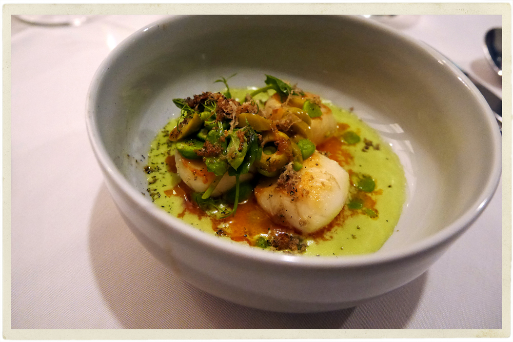 Scallops and pea velouté with truffle & olives at James Street South, Belfast
