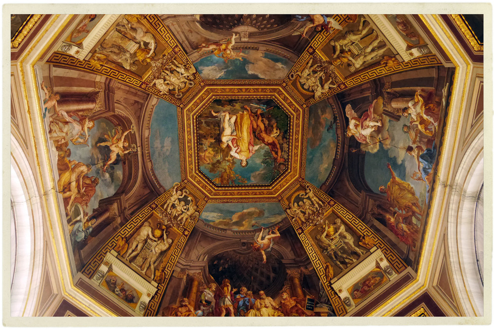 One of the many beautiful ceilings in the Vatican.