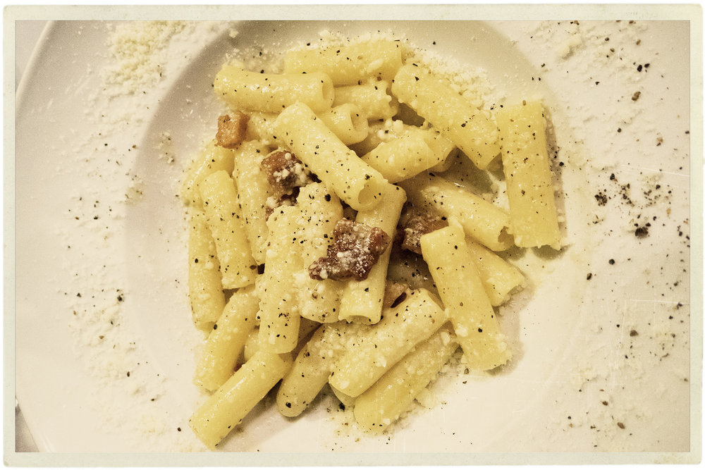 Cacio e pepe alla gricia. This pasta makes me weep, the guanciale perfection.