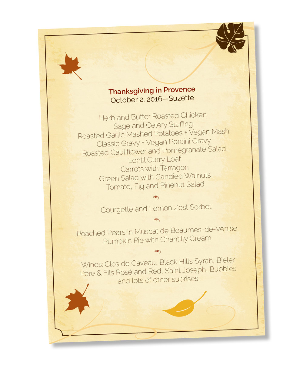 Le menu Thanksgiving in Provence