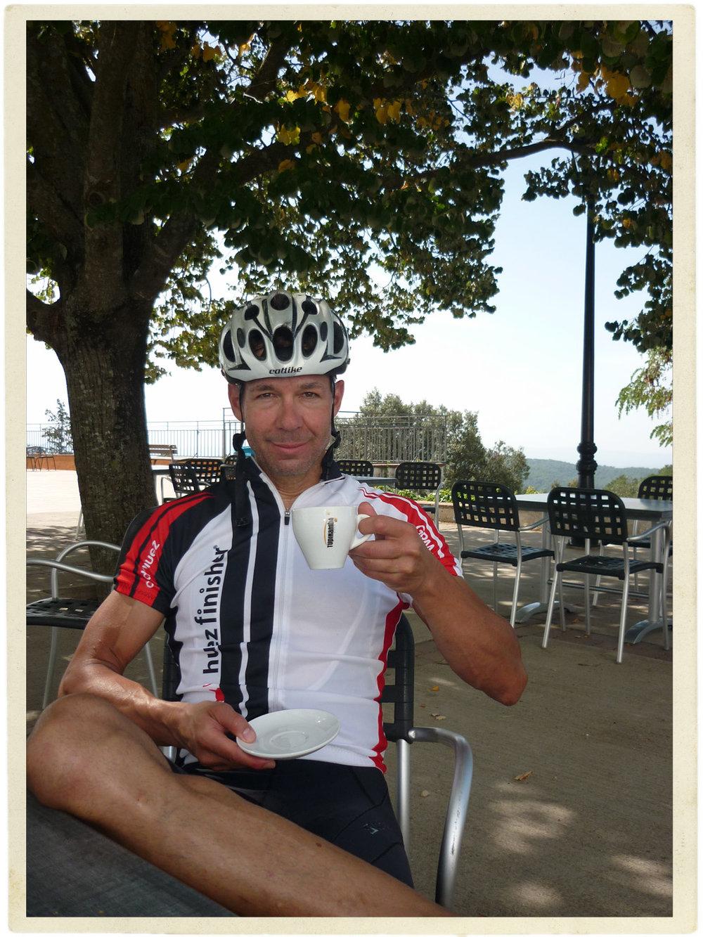 Coffee at top of Els Àngels climb. Best coffee ever!
