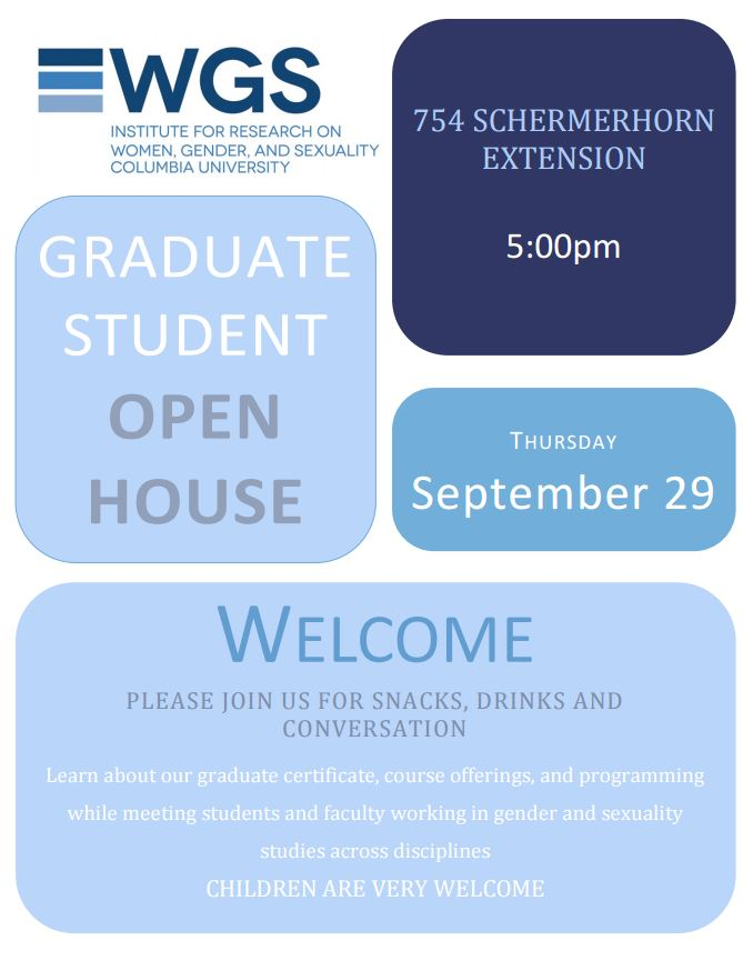 Irwgs Columbia University Graduate Student Open House 5pm Sept