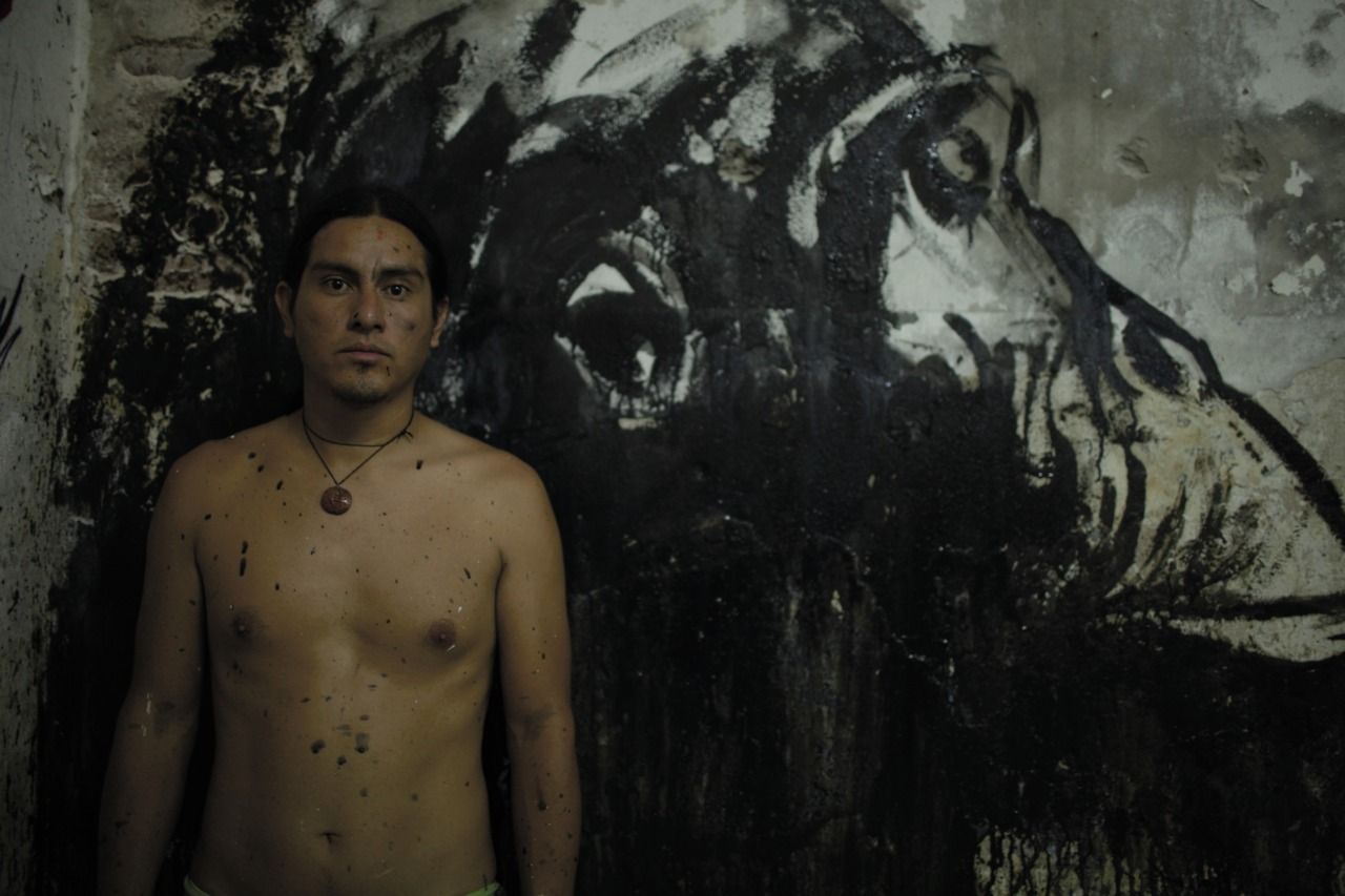 Estiven Mera in front of his work in progress